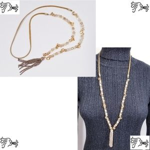 Light Brown Crystal & Suede Necklace